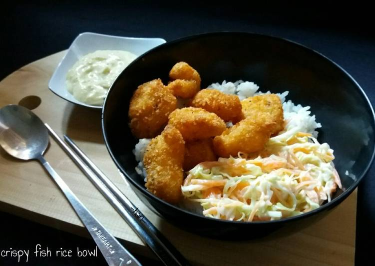 Crispy Fish Rice Bowl, (edible for kids )