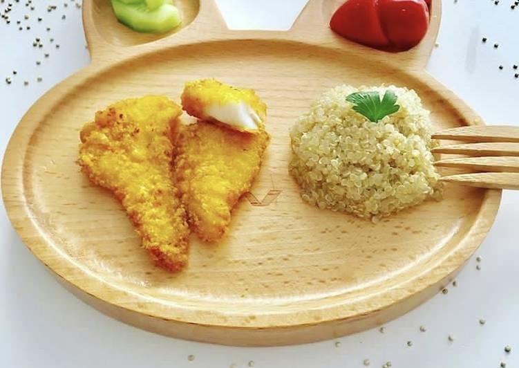 Cabillaud pané sans PLV accompagné de Quinoa