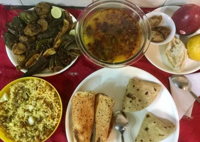 Easiest Way to Make Homemade Tadka Yellow Moong Dal,Mixed Tawa Fry Sabji &Veg Pulao