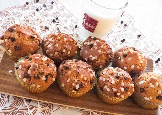 Muffins aux pépites de chocolat et sucre casson