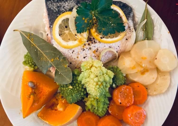Pavés de saumon aux légumes oubliés