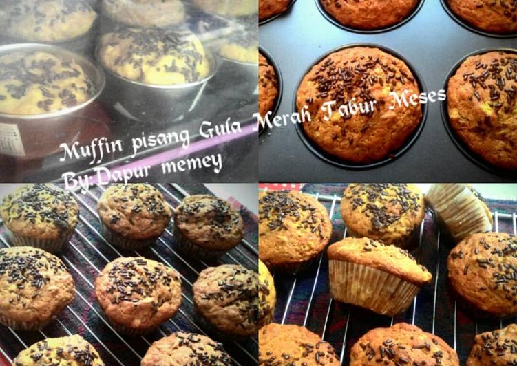Muffin pisang gula merah tabur meses