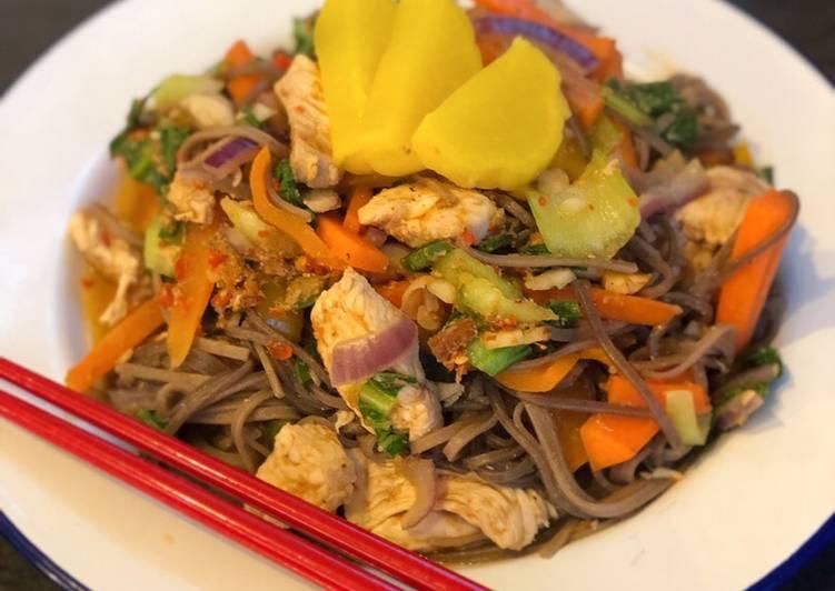 Gai Pad Prik Soba (Thai / Japanese chicken fusion)