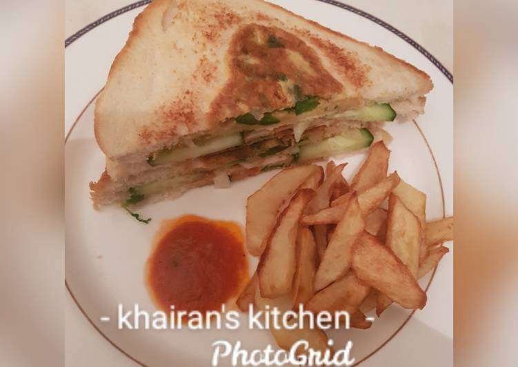 10 Minute Recipe of Quick Bread Omelette and chips