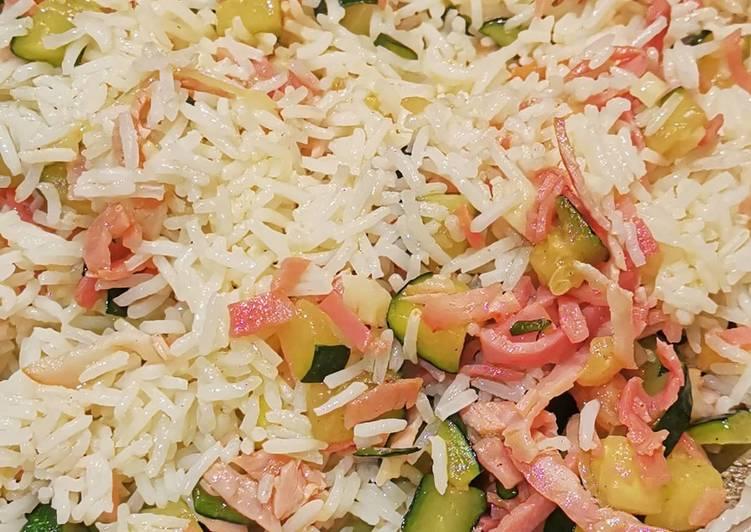 Comment Cuisiner Riz sauté aux courgettes et jambon