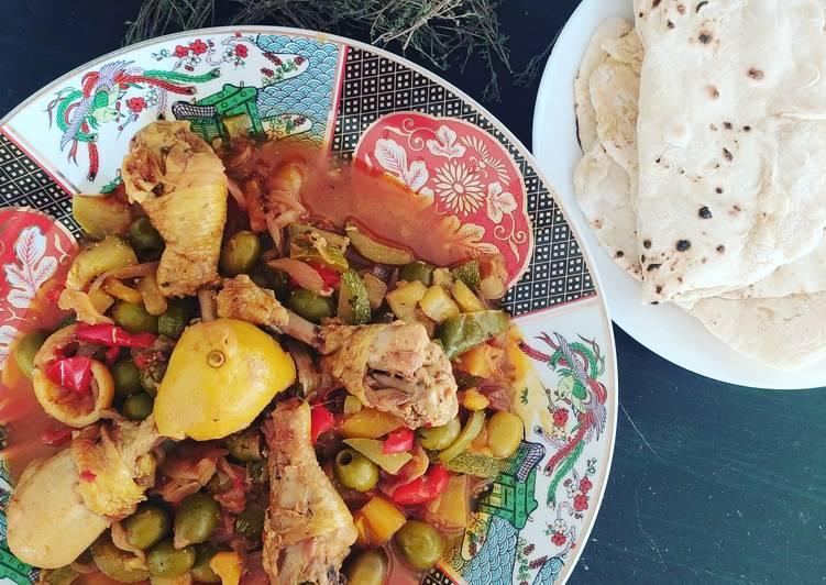 Comment Cuisiner Tajine de poulet et légumes du Soleil