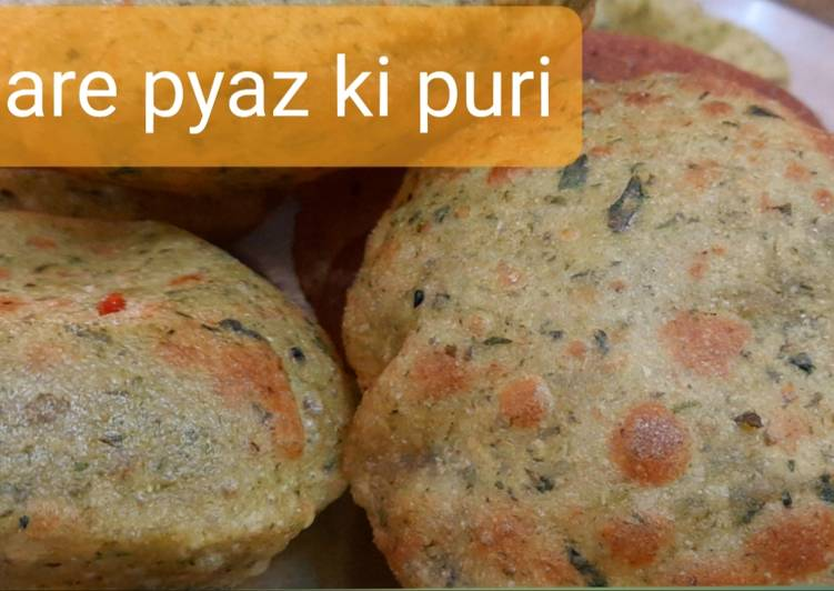 Simple Way to Prepare Any-night-of-the-week Hare pyaz ki puri