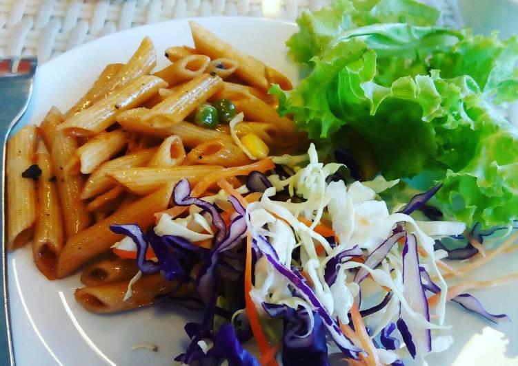 Indian style corn mutter Penne pasta with salad