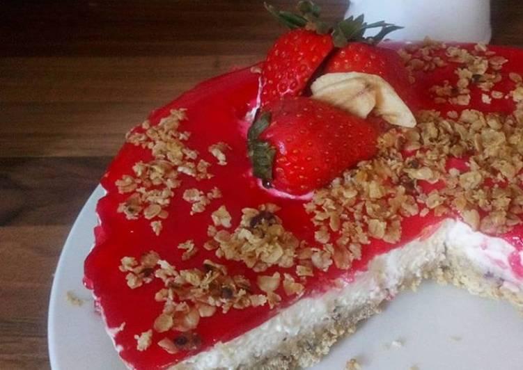 Cranberry & Strawberry oatie cheesecake