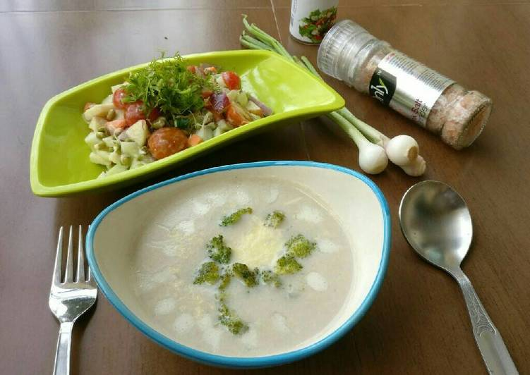 Teach Your Children To Cauliflower broccoli Soup with Vegy Salad
