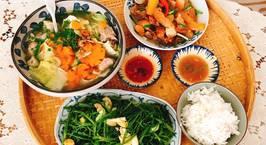 Hình ảnh món Canh sườn non, tôm khô nấu cải thảo và bắp cải, cà rốt. Thịt kho củ cải trắng với nước dừa