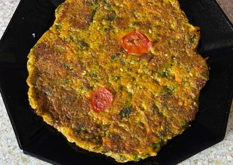 Recipe of Quick Vegetable oats pancake Healthy breakfast