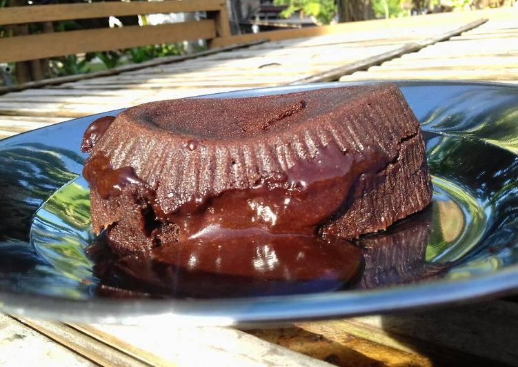 Choco lava cake (no mikser no oven,pke putih telur)