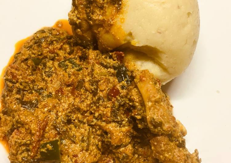Recipe of Super Quick Homemade Pounded yam with egusi soup