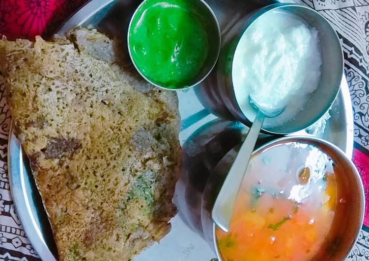 Recipe of Super Quick Homemade Fasting thali buck wheat(kuttu) flour chilla & potatoes curry