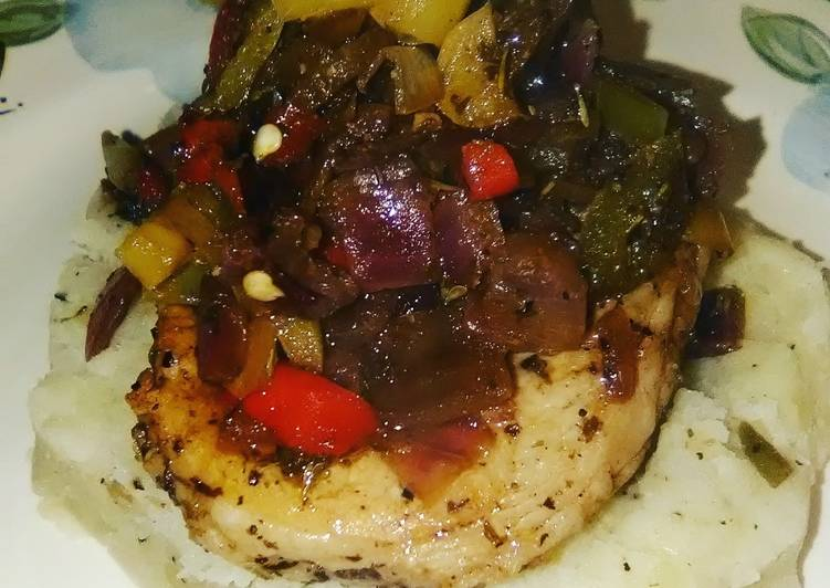 Low Calorie Pork Chop peppers & potatoes