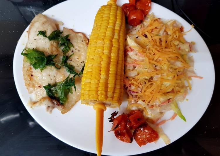 Oven Cooked Parmesan & Lemon Tilapia fish. 😁