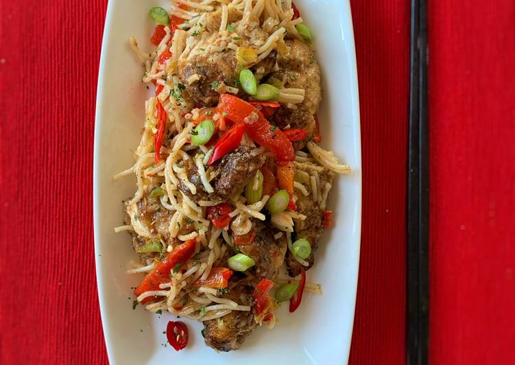 Salt and Pepper Chicken with noodles