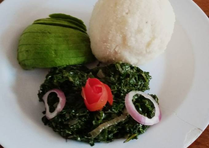 Tasty & economical spinach, kales with ugali
