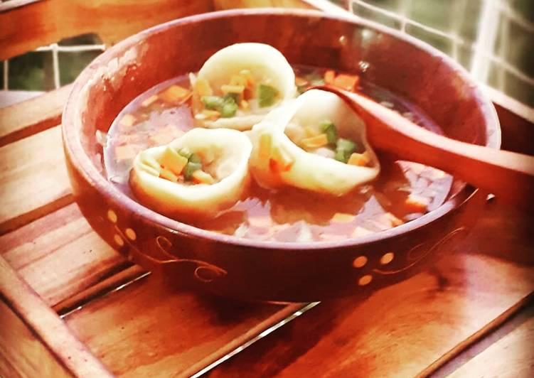 Steps to Make Perfect Veg wonton soup