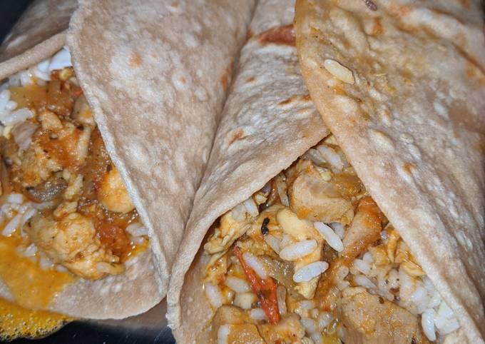 Whole wheat chicken burritos