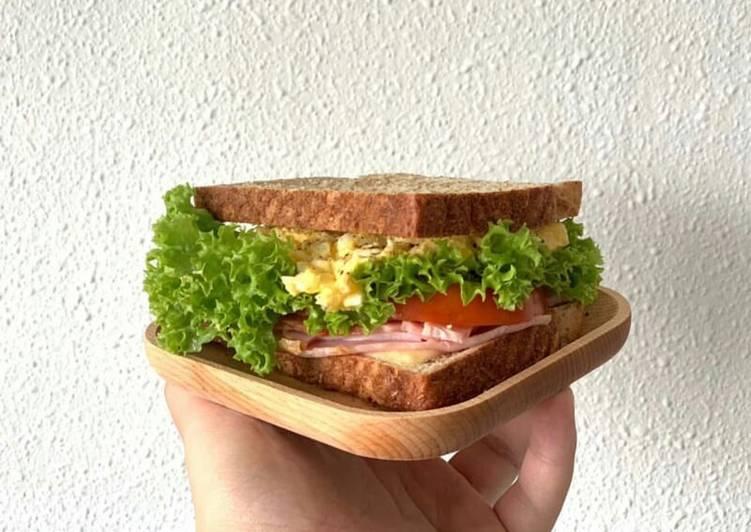 Recipe of Ultimate Simple Egg Mayo Turkey Ham Sandwichʕ·͡ᴥ·ʔ