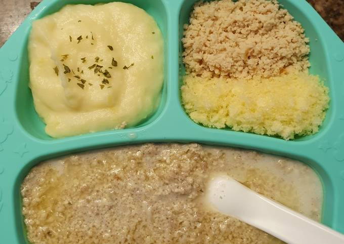 Mashed potato + abon tinggi kalori (booster bb)