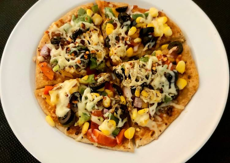 Cheese Burst Pizza with leftover Chappatis