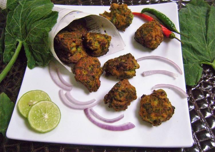 Easiest Way to Prepare Favorite Kumro Pata Bora (Pumpkin Leaves Pakoras - Bengali Style)