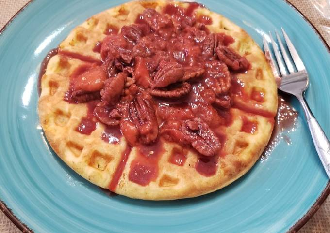 Keto Waffles with Strawberry Pecan Topping