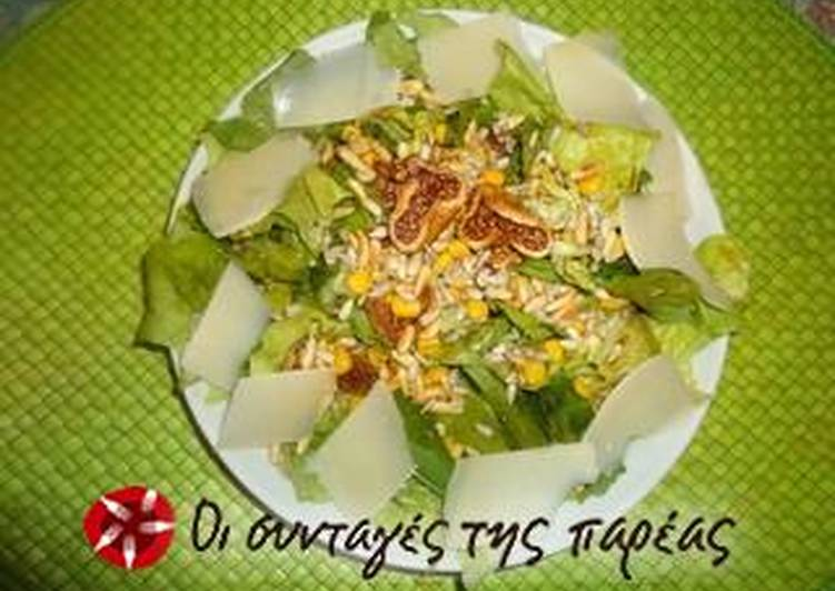 Easiest Way to Cook Appetizing Salad with lettuce, arugula, figs and pine nuts
