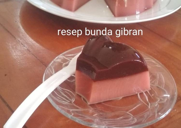 Puding Buah Bit Lapis Coklat Sederhana