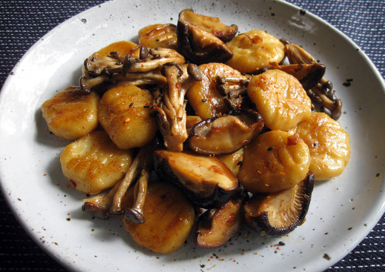 Gnocchi & Mushrooms In Butter Soy Sauce