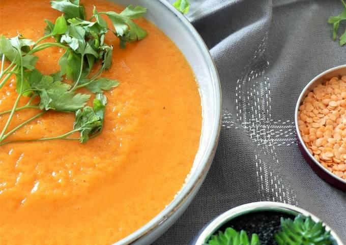 Soupe de lentilles corail / poivron et carottes aux épices