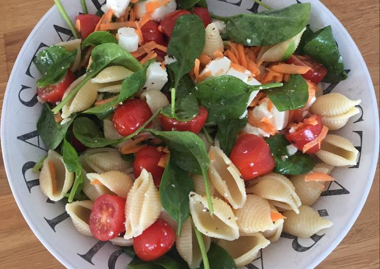 Steps to Make Most Popular Feta, tomato, spinach pasta salad