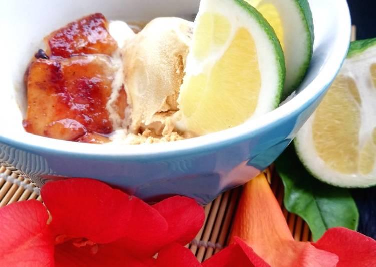 Nos 8 Meilleures Recettes de Coupe glacée caramel au beurre salé et nectarine rôtie