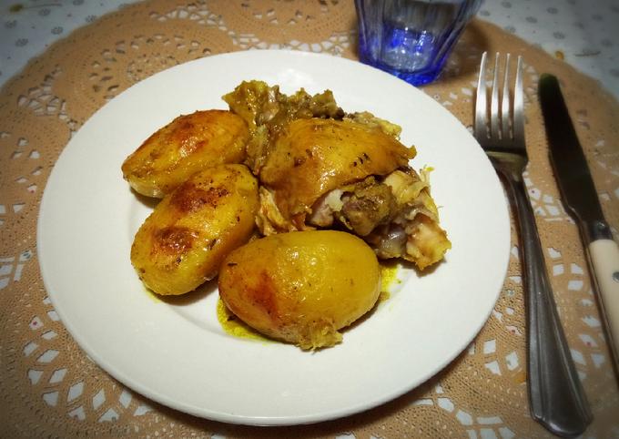 Poulet rôtis accompagné de pommes de terre fondantes 🍴
