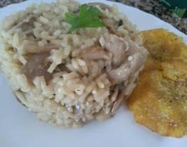 Risotto de arroz largo con champiñones