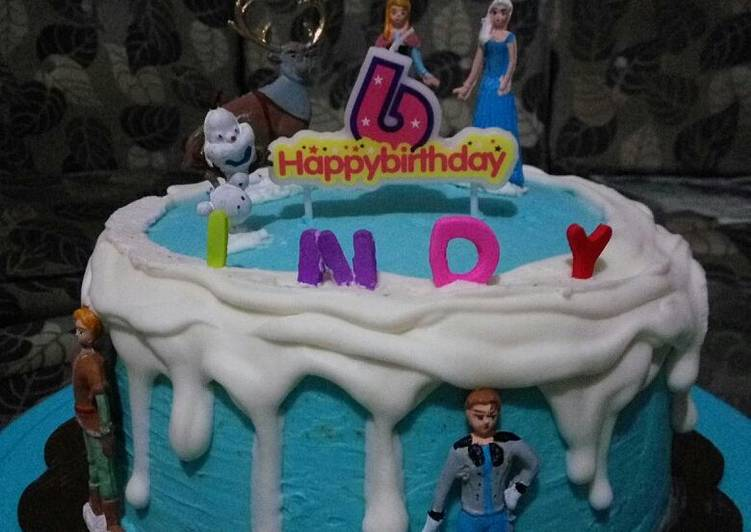 Resep: Berselera Birthday Cake (simple Frozen Theme)