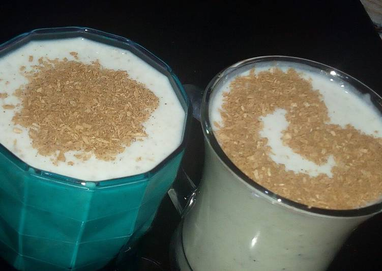 Banana milkshake with coconut cinnamon