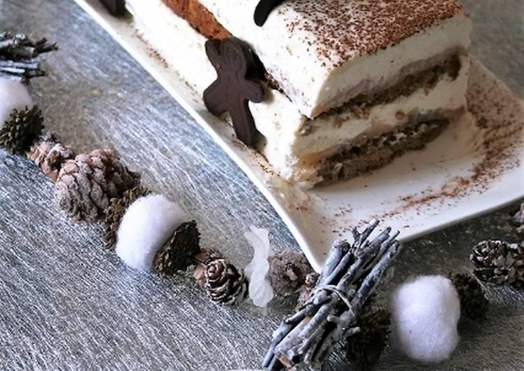 Comment Servir Bûche pain d'épices, poires, mousse mascarpone Bio, sans oeufs ni gluten..
