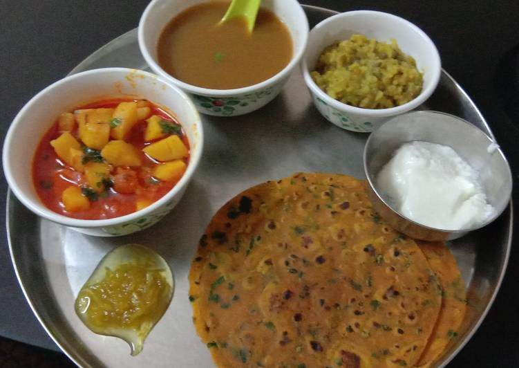Aloo tomato sabji methi thepla vegetables soup moong dal khichdi