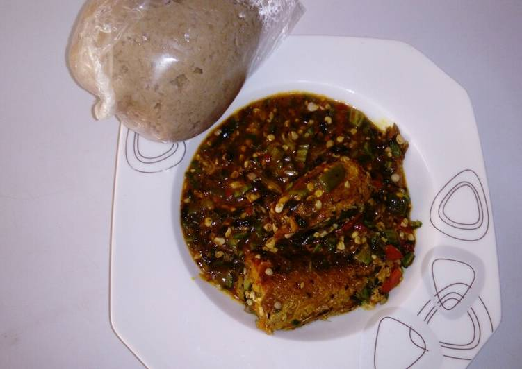 Simple Way to Make Super Quick Homemade Wheat swallow with fresh okro and croker fish soup