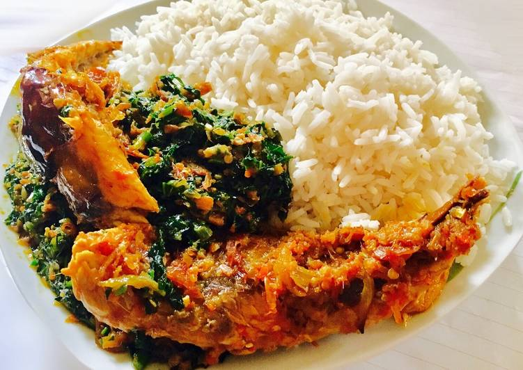 Vegetable Sauce, smoked mackerel and White Rice - Laurie G Edwards