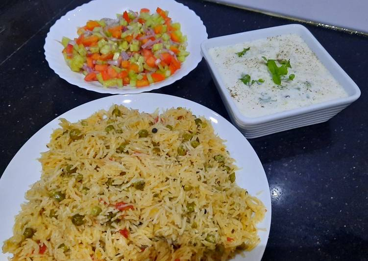 Recipe of Quick Mater pulao with kaddu raita and kachumar salad