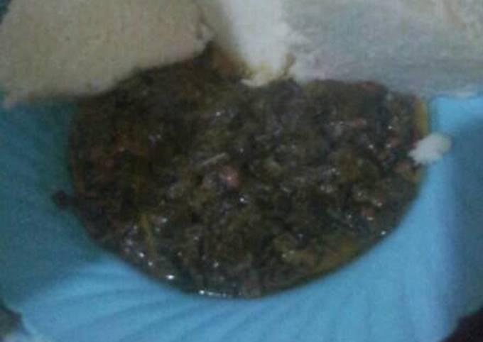 "Ugali and African vegetable ""managu"""