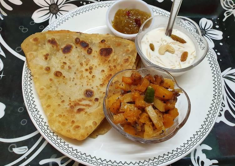 Super Yummy Paratha,Pumpkin Curry, Sweet Mango Pickle and Vermicelli Kheer