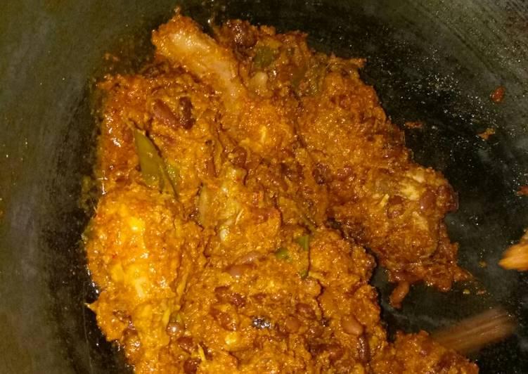 resep cara membuat Rendang ayam vs kacang es ala mak des