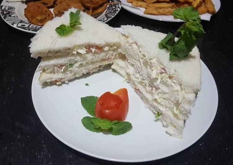 Steps to Prepare Quick Chicken vegetable mayo sandwiches