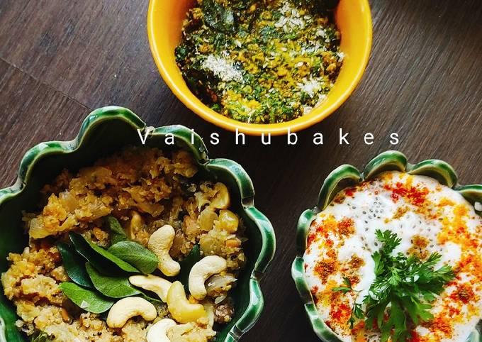 Easiest Way to Make Perfect Indian Keto Meal: Cauliflower Upma/ Palak Pachadi/ Chia Raita